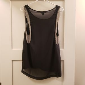 Rock and Republic Sleeveless Top with Chains sz M